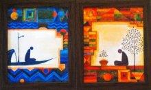 Figurative Acrylic Art Painting title 'Untitled (Set of 2)' by artist Ishani Pimpalkhare