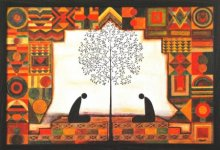Figurative Acrylic Art Painting title 'Two Monks' by artist Ishani Pimpalkhare
