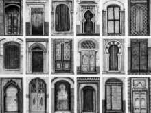 Cityscape Acrylic Art Painting title 'The Moroccan Doors Lr' by artist Ishani Pimpalkhare