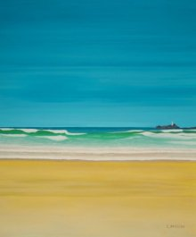 SIMON MASON | Oil Painting title Godrevy Lighthouse Gwithian on Canvas | Artist SIMON MASON Gallery | ArtZolo.com