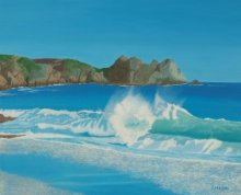 Seascape Oil Art Painting title 'Porthcurno Wave' by artist SIMON MASON
