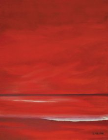 Seascape Oil Art Painting title 'Red Sky' by artist SIMON MASON