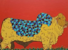 Animals Acrylic Art Painting title 'Bull 1' by artist Rama Krishna V