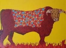 Animals Acrylic Art Painting title 'Bull 2' by artist Rama Krishna V