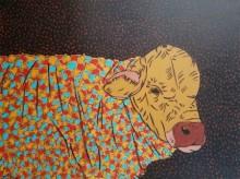 Animals Acrylic Art Painting title 'Bull 3' by artist Rama Krishna V