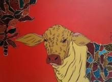 Animals Acrylic Art Painting title 'Bull 4' by artist Rama Krishna V