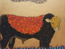 art, painting, acrylic, canvas board, animal, bull