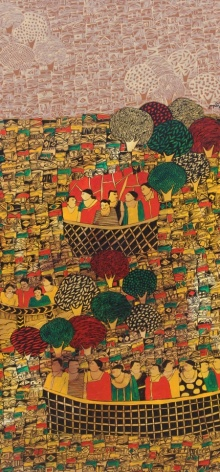 Cityscape Acrylic Art Painting title 'Cityscape 1' by artist Rama Krishna V