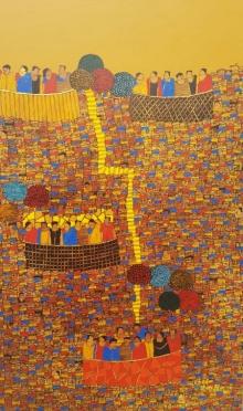 Cityscape Acrylic Art Painting title 'Cityscape 20' by artist Rama Krishna V
