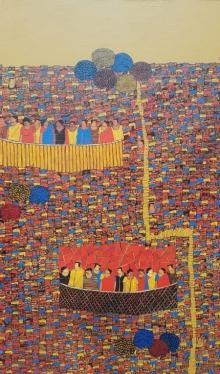 Cityscape Acrylic Art Painting title 'Cityscape 21' by artist Rama Krishna V