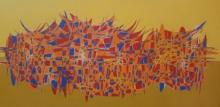 Cityscape Acrylic Art Painting title 'Cityscape 22' by artist Rama Krishna V