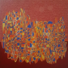 Cityscape Acrylic Art Painting title 'Cityscape 23' by artist Rama Krishna V