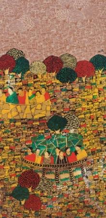 Cityscape Acrylic Art Painting title 'Cityscape 3' by artist Rama Krishna V