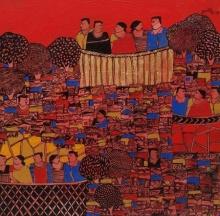 Cityscape Acrylic Art Painting title 'Cityscape 5' by artist Rama Krishna V