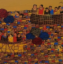 Cityscape Acrylic Art Painting title 'Cityscape 6' by artist Rama Krishna V