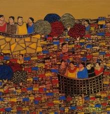 Cityscape Acrylic Art Painting title 'Cityscape 7' by artist Rama Krishna V