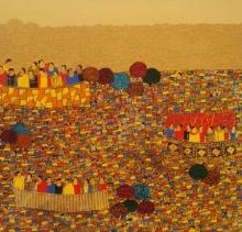 Cityscape Acrylic Art Painting title 'Cityscape 8' by artist Rama Krishna V