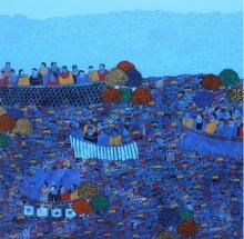 Cityscape Acrylic Art Painting title 'Cityscape 9' by artist Rama Krishna V