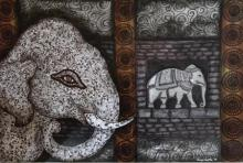 Animals Mixed-media Art Painting title 'Ancient Aura 3 Work' by artist Sreya Gupta