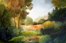 Landscape Watercolor Art Painting title 'Beauty of nature' by artist Jitendra Sule
