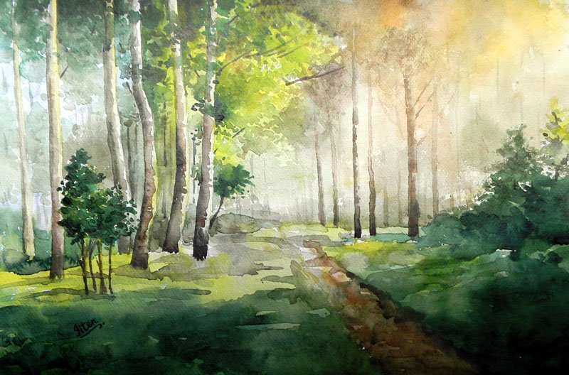 Harmoney With Nature By Artist Jitendra Sule Landscape