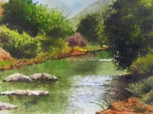 Landscape Watercolor Art Painting title 'Mesmerizing Stillness' by artist Jitendra Sule