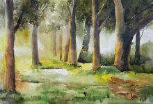 Landscape Watercolor Art Painting title 'Morning In Wood' by artist Jitendra Sule
