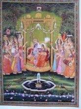Religious Tribal Art Painting title 'Radha Krishna Jhula II' by artist Rajendra Khanna