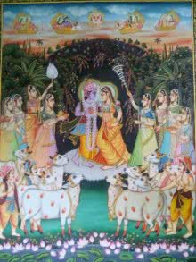 Religious Tribal Art Painting title 'Krishna Radha with Cows' by artist Rajendra Khanna