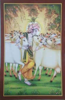 Religious Tribal Art Painting title 'Gopastami' by artist Rajendra Khanna