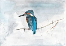 Yashodan Heblekar | Watercolor Painting title Small Blue Kingfisher on Paper | Artist Yashodan Heblekar Gallery | ArtZolo.com