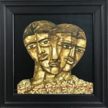 Figurative Acrylic Art Painting title 'Faces 2' by artist Laxman Aelay