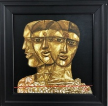 Figurative Acrylic Art Painting title 'Faces 3' by artist Laxman Aelay