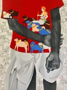 Village Folk | Painting by artist Laxman Aelay | acrylic | Canvas