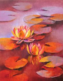 Water Lilies 12 | Painting by artist Swati Kale | oil | Canvas