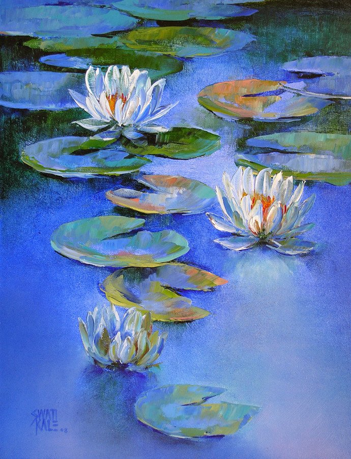 Water Lilies 19 by artist Swati Kale | oil Paintings