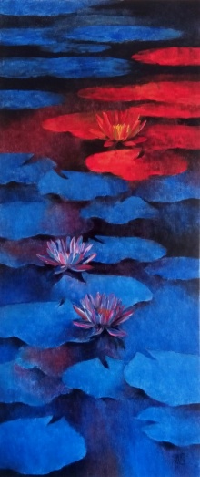 Nature Oil Art Painting title 'Waterlilies 3' by artist Swati Kale