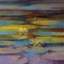 Nature Oil Art Painting title Waterlilies 7 by artist Swati Kale