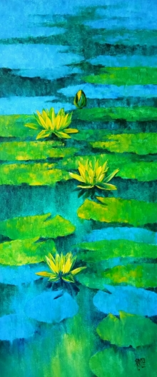 Nature Oil Art Painting title Waterlilies 101 by artist Swati Kale