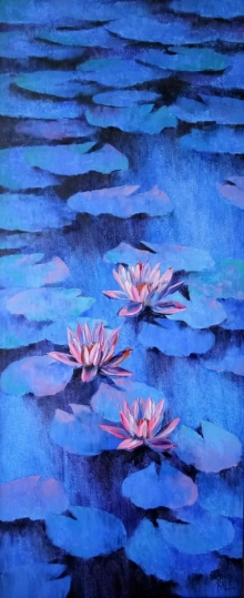 Nature Oil Art Painting title Waterlilies 102 by artist Swati Kale