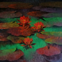 Nature Oil Art Painting title 'Waterlilies 103' by artist Swati Kale