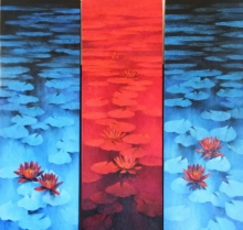 Nature Oil Art Painting title Waterlilies 105 by artist Swati Kale