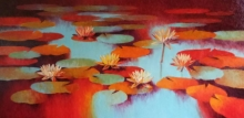 Nature Oil Art Painting title Waterlilies 113 by artist Swati Kale