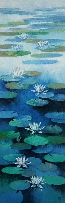 Nature Oil Art Painting title Waterlilies 2 by artist Swati Kale