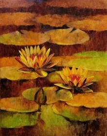 Nature Oil Art Painting title Waterlilies 94 by artist Swati Kale