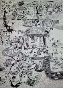 Fantasy Pen Art Drawing title 'Women at Work' by artist Fatema Lodhger