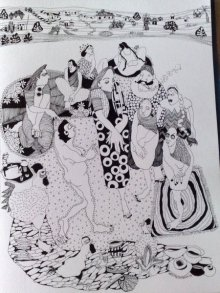Figurative Pen Art Drawing title 'Untitled' by artist Fatema Lodhger