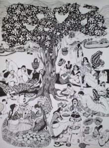Figurative Pen Art Drawing title 'Picnic' by artist Fatema Lodhger