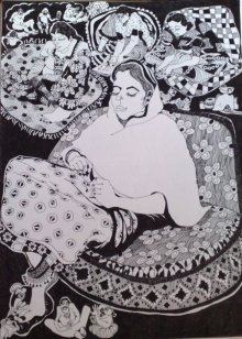 Pen Paintings | Drawing title The Boss on Paper | Artist Fatema Lodhger