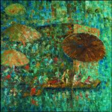 Impressionist Oil Art Painting title 'Mushroomed Umbrella' by artist Upendra Nayak